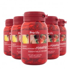 [프로라이프] 유기농 달맞이꽃종자유 함유 로즈힙200캡슐 6개